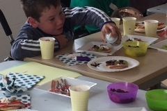 Cathal adds the final touches to his pancake face