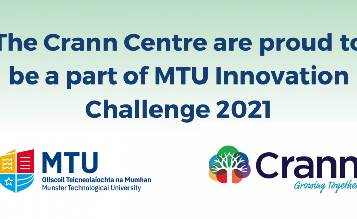 MTU Innovation Challenge Banner - includes MTU and Crann Centre logo overlayed on green and white background