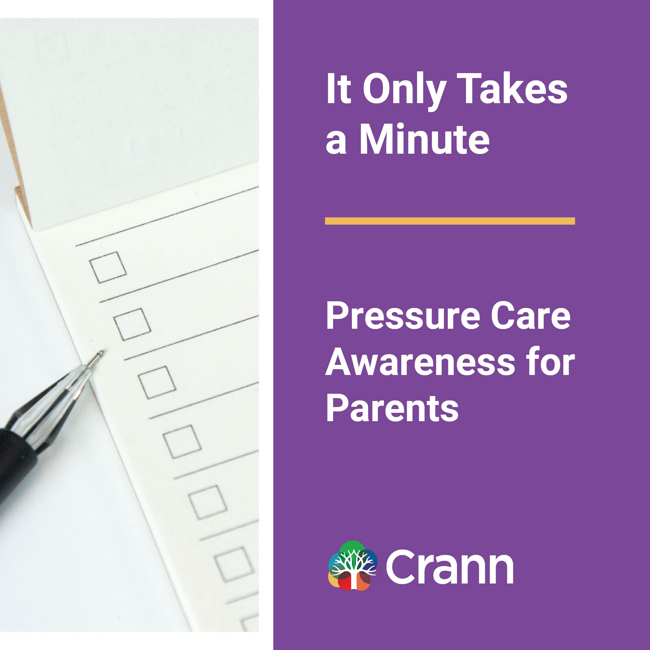 it only takes a minute banner image - text on purple background next to image of a pen and paper check list