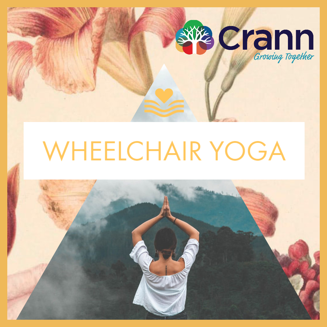 wheelhchair yoga banner image - a woman in a yoga pose in front of a mountain landscape