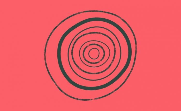 Cherry Red Background with Dark Green Tree Rings to Symbolise Growth